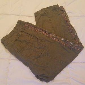 Olive green pants with glittery rhinestones 4